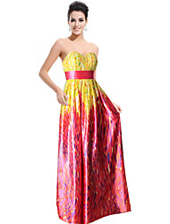 Ever-Pretty Women's Strapless Empire Line Padded Floral Printed Satin Evening Dress