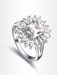 clássico indivíduo forma pétala de prata das mulheres banhado anéis de instrução (1 pc)