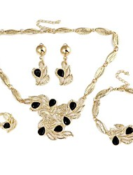 Leaf Flower-Shaped Alloy Inlay Rhinestone Sets Necklace+Bracelet+Earrings+Ring Gold (1Set)
