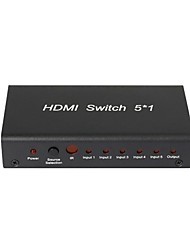 5 port 1080p HDMI switcher splitter hub doos kabel LCD HDTV, metalen behuizing met power adapter