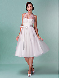 Lanting A-line/Princess Plus Sizes Wedding Dress - Ivory Knee-length Halter Satin/Tulle