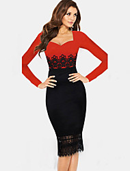 Monta Women's Long Sleeve Round Collar Lace Bodycon Slim Dresses