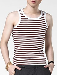 Men's Sleeveless Vest , Cotton/Spandex Casual Striped
