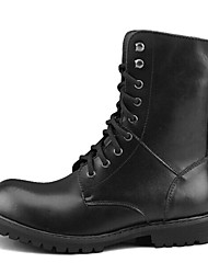 Men's Spring Summer Fall Winter Motorcycle Boots Leather Fur Casual Low Heel Lace-up Black