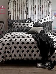 4-Piece 100% Cotton Reactive Printing Star  Duvet Cover Set
