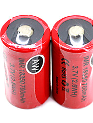 2pcs AW IMR 18350 3.7V 700mAh High Drain Rechargeable Lithium Batteries Set (2.6WH) Red