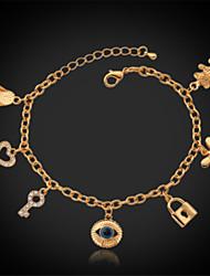 U7 coeur d'oeil chanceux charmes Bracelet fantaisie Bracelet or 18k
