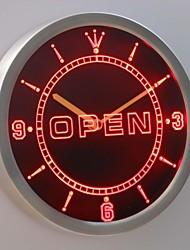 nc0326 enseigne au néon ouvert conduit horloge murale