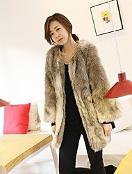 Women's Elegant Faux Fur All-match  Long Sleeve Coat