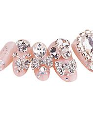 24+4PCS Shining Rhinestone Pink Wedding Nail Art Tips With Free Gift