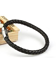 Men's Fashion Personality Titanium Steel Magnet Leather Woven Bracelets