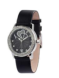 vrouwelijke horloge legering wijzerplaat lederen band ronde wijzerplaat quartz uurwerk polshorloge (meer kleuren)