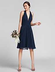 Knee-length Chiffon / Satin Bridesmaid Dress Sheath / Column Halter Plus Size / Petite with Draping / Ruching