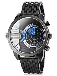 Men's Dual Time Zones Black Steel Band Quartz Wrist Watch (Assorted Colors)