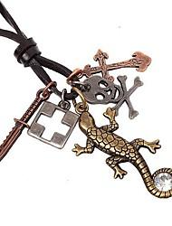 Vintage Gecko Pendant Hide Rope Men's Necklaces(1pc)