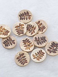 Leaf Pattern Scrapbook Scraft Sewing DIY Coconut Shell Buttons(10 PCS)