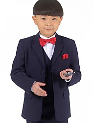 Boy's Dark Blue Suit (Jacket+Vest+Pants) Three-Piece Set Ring Bearer's Wear Kid's Ceremonial Suit 602-9-2