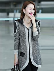 эко женские длинный рукав свободная посадка контраст цвета ruffly пальто