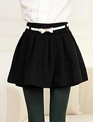 mode couleur solide taille de laine bouffée jupe des femmes