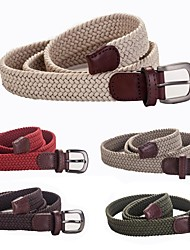 Women's Outdoor Sports Camping High Quality Genuine Leather Elastic Belts 2.5x100cm (Ivory Khaki Olive Chocalate Red)