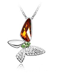 coração da borboleta colar curto revestida com 18k platina verdade topázio fumado cristalizado strass cristal austríaco