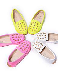 Girl's Boat Shoes Spring Fall Moccasin Leatherette Casual Flat Heel Rivet Yellow Red White