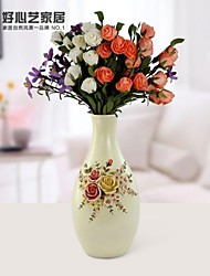 "HOSHINE® 12"" H Modern Garden Style Victoria Romantic Rose Polyresin Vase"