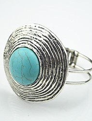 Toonykelly Female Vintage Look Antique Silver Plated Round Turquoise Stone Cuff Bracelet(1 Pc)
