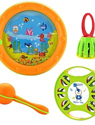 Baby Musical Instrument Four Set Music Tambourine Sand Hammer Handle Cage Ring Bell Sea Waves Drum Baby Educational Toys
