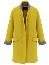 Single Boutton Middle Long Woolen Coat