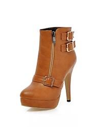 sapatos femininos rodada toe ankle boots salto agulha mais cores disponíveis