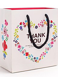 teste padrão do coração amoroso sacos de presente brancas com letras obrigado
