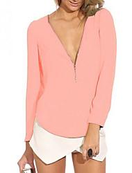 L&W Women's V Neck Long Sleeve Chiffon Shirt