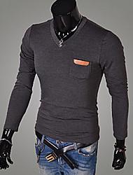 x-man Männer mit V-Ausschnitt Slim Langarm-T-Shirt