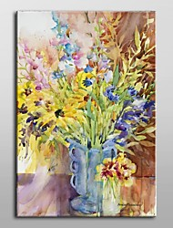 Hand Painted Oil Painting Floral Blue Vase by Annelein Beukenkamp with Stretched Frame