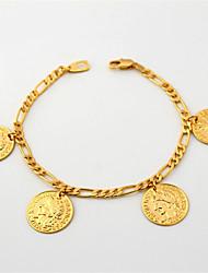 U7 Franch Coin Charms Bracelet Figaro Chain 18K