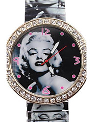 Women's  Fashion  Simple Marilyn Monroe pattern Style Metal Spring Band Wrist Watch Cool Watches Unique Watches