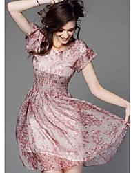 moda manga curta vestido das mulheres em torno do pescoço kyy