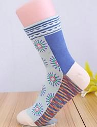 Retro meias de algodão estilo étnico das 5pairs mulheres (cor aleatória de colocação)