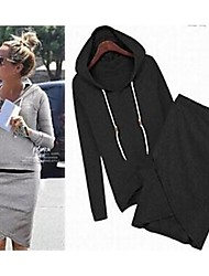 Women's Solid Color Suit(Hoodie & Skirt)