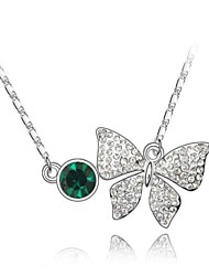 Jade Butterfly Short Necklace Plated With 18K True Platinum Emerald Crystallized Austrian Crystal Rhinestone