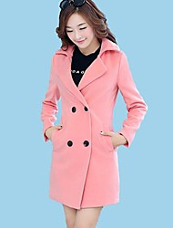 Women's Coat,Solid Long Sleeve Winter Pink / Red / Green Wool Medium