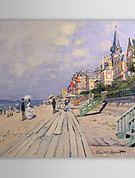 Hand-painted Oil Painting The Boardwalk at Trouville by Claude Monet with Stretched Frame