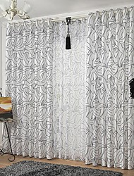 Room Darkening Jacquard  Flower Curtain (Two Panel)
