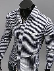 tiras de zebra dos homens manlodi slim-encaixe camisa