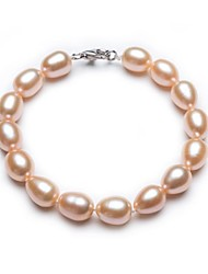 BRI.R® Fashion Women's S925 Silver Clasp 8-9mm Natural Pink Rice-shape Pearl  Bracelet