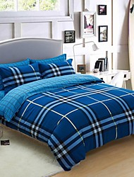 H C Thicken Cotton Sanded Fabric Duvet Cover Set 4 Pieces Checker Pattern