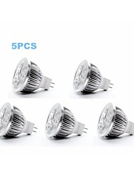 5W GU5.3(MR16) LED Spotlight MR16 4 350-400 lm Cool White DC 12 V 5 pcs