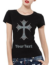 Personalized Rhinestone T-shirts Cross Pattern Women's Cotton Short Sleeves