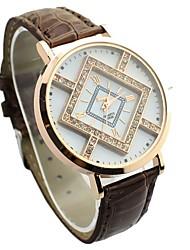 JINI женщин характер решетки алмаза набором цвет кожаный ремешок часы